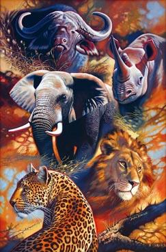 The Big Five Jungle Animals Jigsaw Puzzle