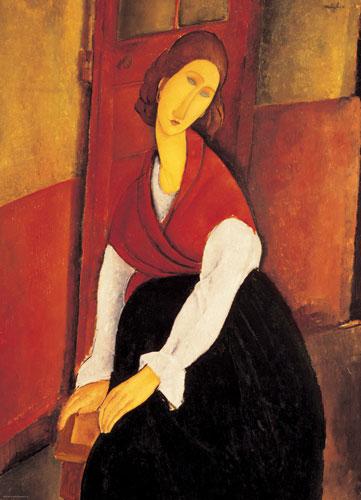 Jeanne Hebuterne in Red Shawl Fine Art Jigsaw Puzzle