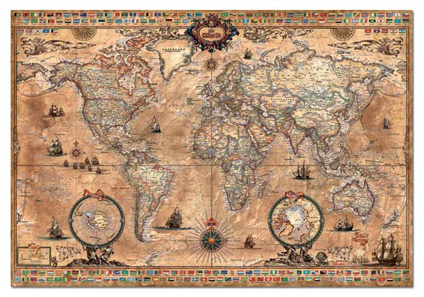 Antique world map jigsaw puzzle puzzlewarehouse antique world map maps geography jigsaw puzzle gumiabroncs Images