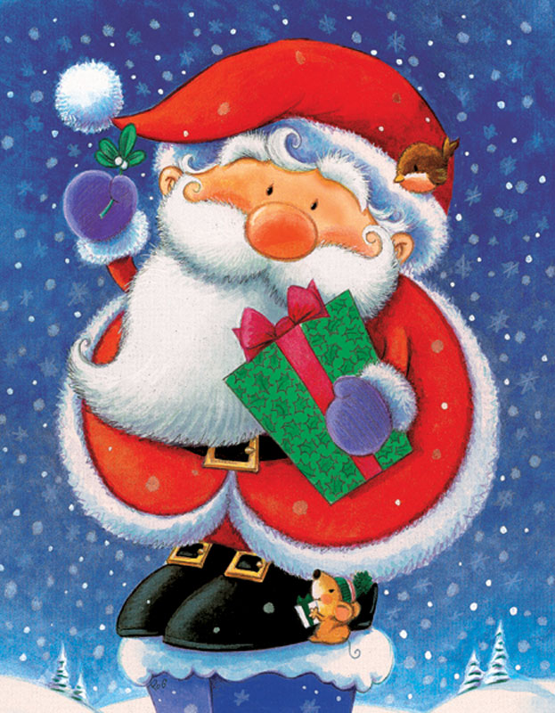 Mini Christmas Puzzles - Santa With Mouse Christmas Jigsaw Puzzle