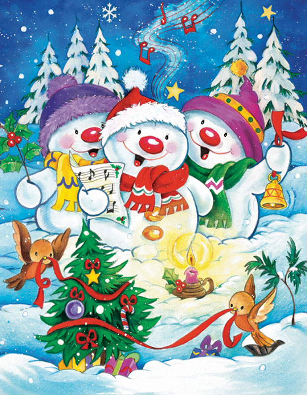 Mini Christmas Puzzles - Frosty Caroling Christmas Jigsaw Puzzle