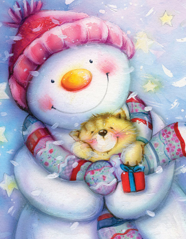 Mini Christmas Puzzles - Frosty and Kitten Snowman Jigsaw Puzzle