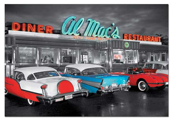 Dinner at Al Mac's Cars Jigsaw Puzzle