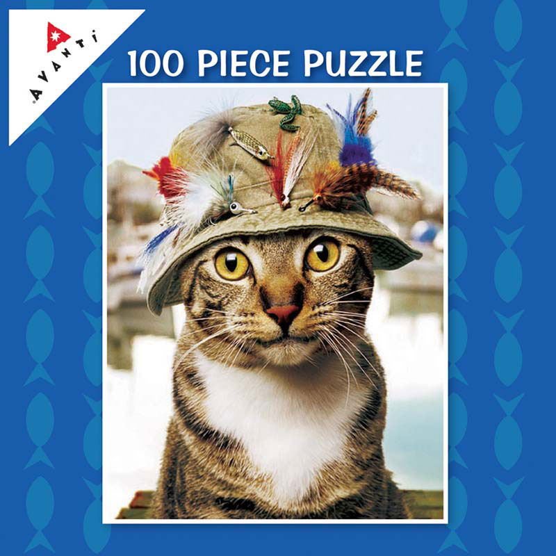 Mini Pet Puzzles - Fishing Hat Cat Cats Jigsaw Puzzle