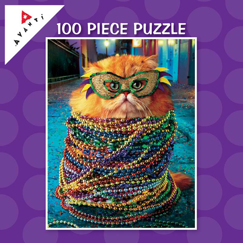Mini Pet Puzzles - Mardi Gras Cat Cats Jigsaw Puzzle