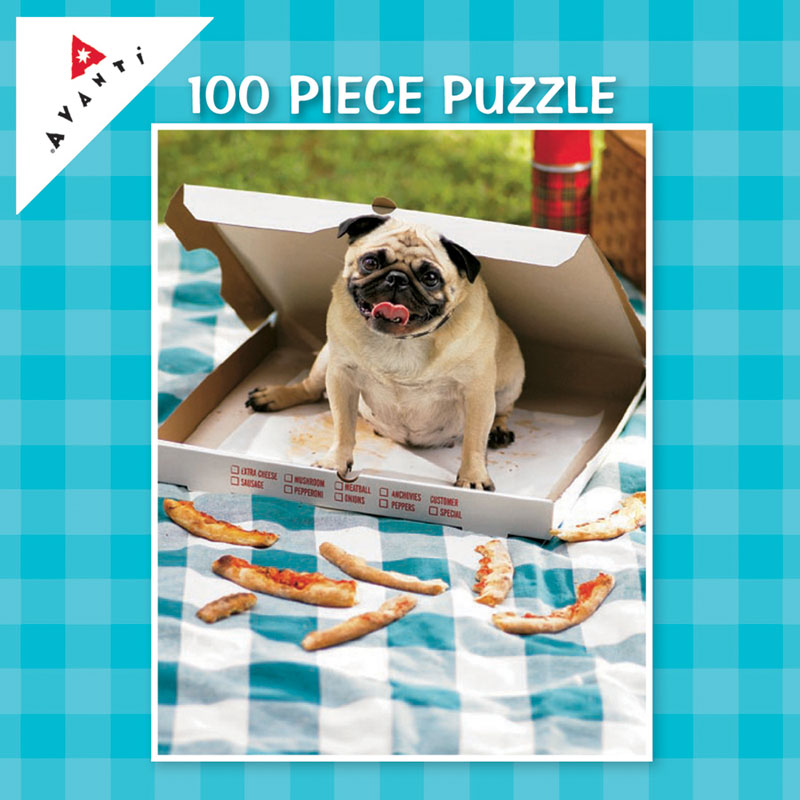 Mini Pet Puzzles - Pizza Pug Dogs Jigsaw Puzzle