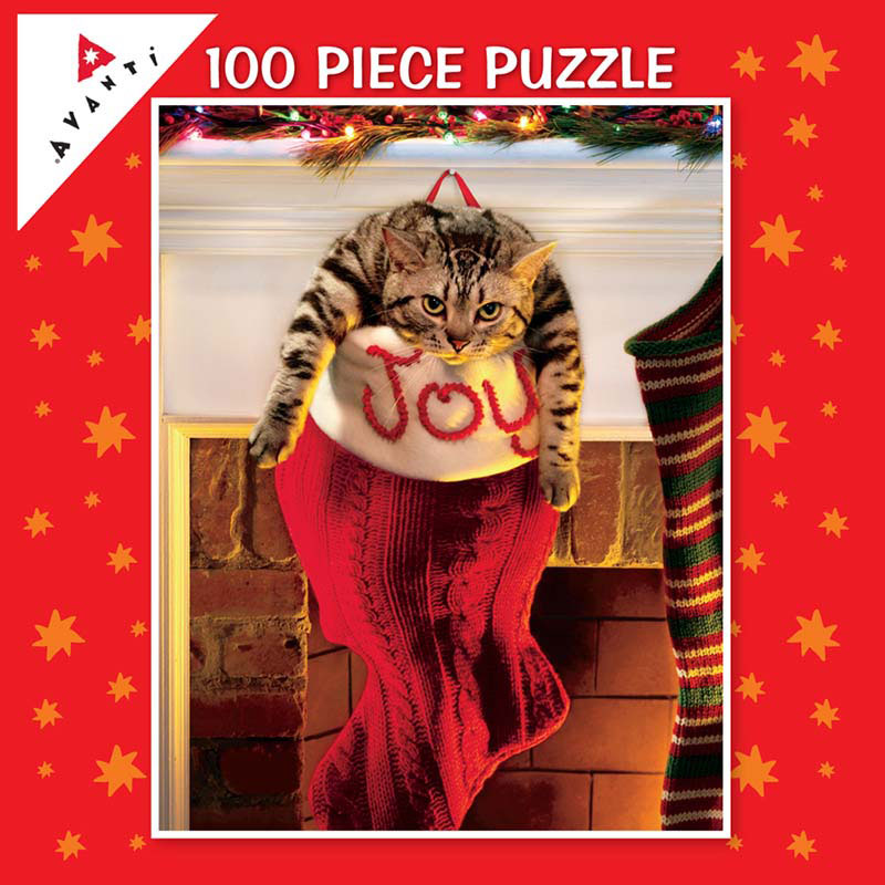 Mini Pet Puzzles Christmas - Kitty in Stocking Christmas Jigsaw Puzzle