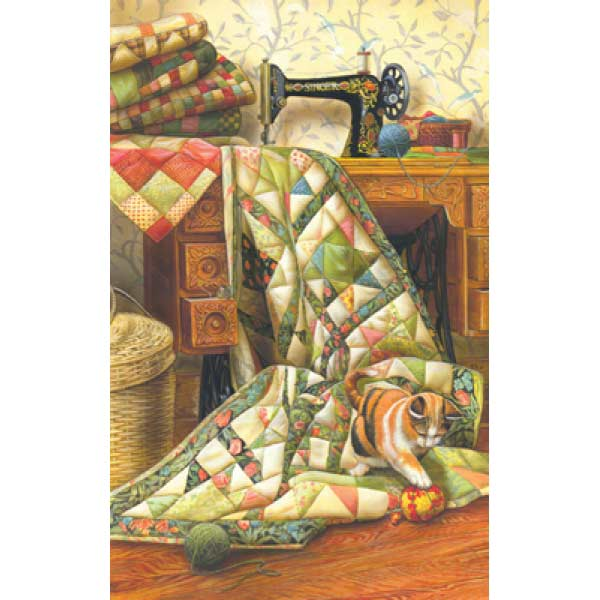 Cat on a Quilt Cats Jigsaw Puzzle