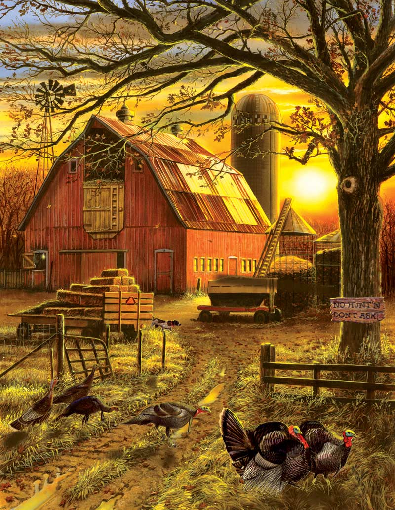 Sunset Barn Fall Jigsaw Puzzle