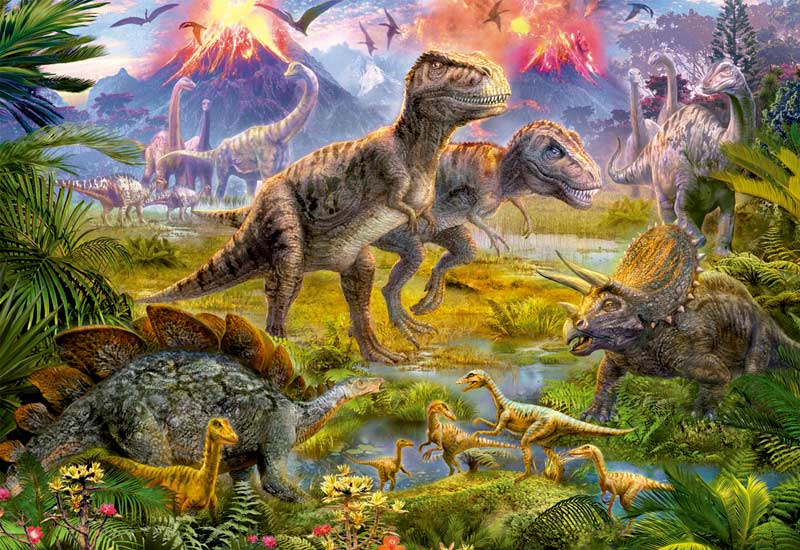 Dinosaur Gathering - Scratch and Dent Dinosaurs Jigsaw Puzzle