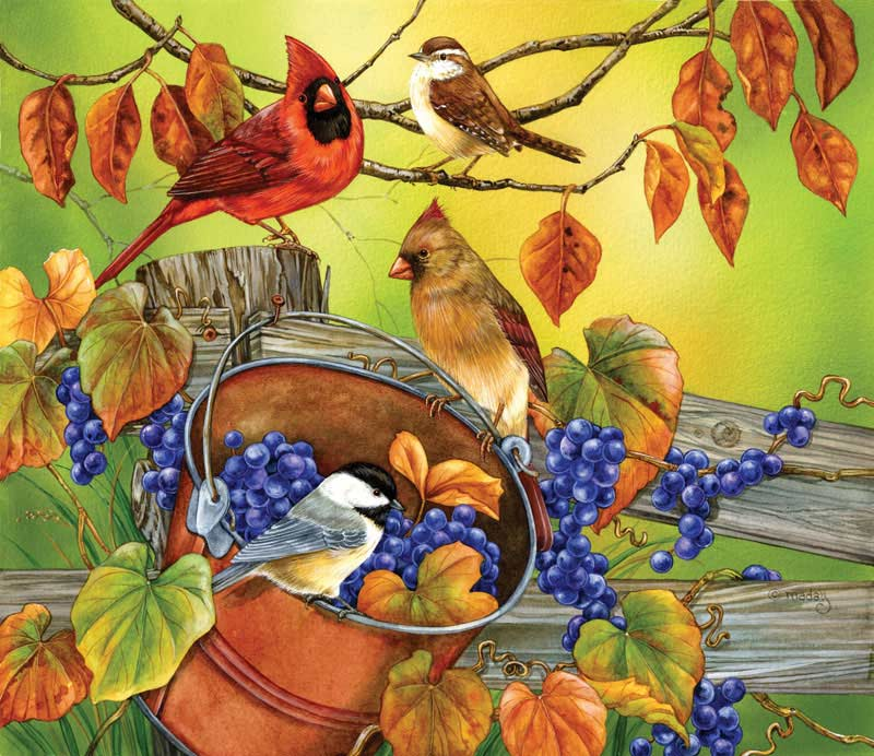 Grape Harvest Birds Jigsaw Puzzle