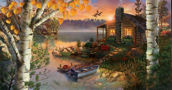 Autumn Splendor Boats Jigsaw Puzzle