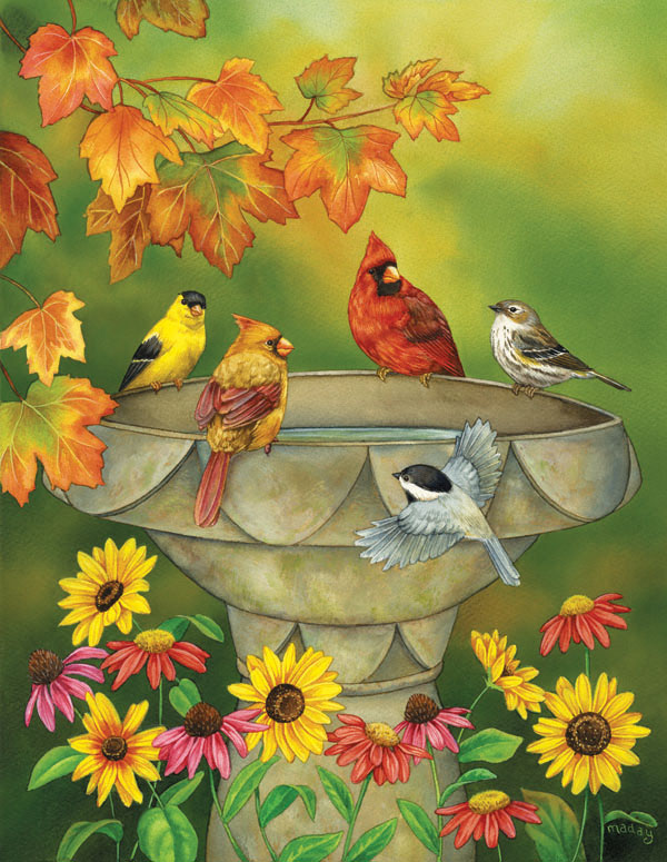 Autumn Birdbath Fall Jigsaw Puzzle