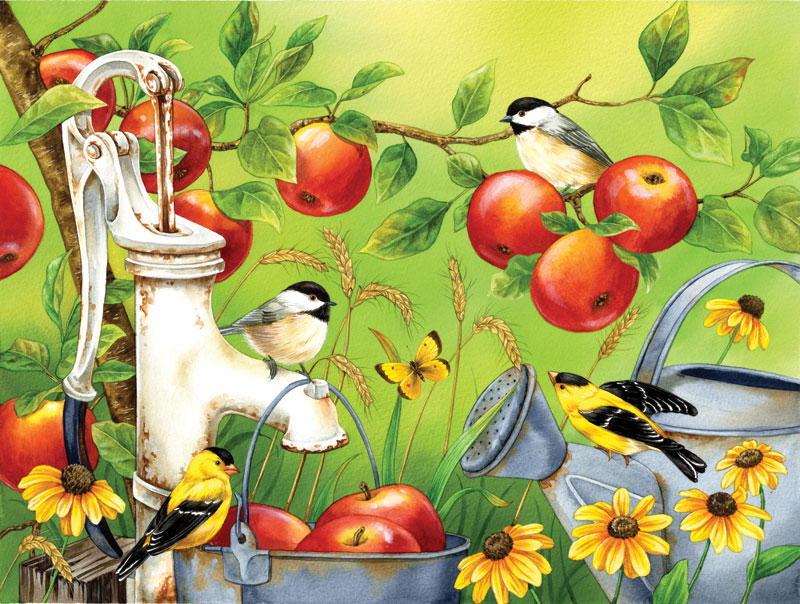 Among the Apples Birds Jigsaw Puzzle