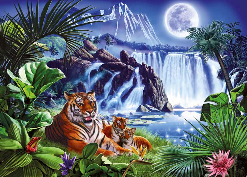 Tiger Waterfall Glow In The Dark Glow In The Dark Puzzle