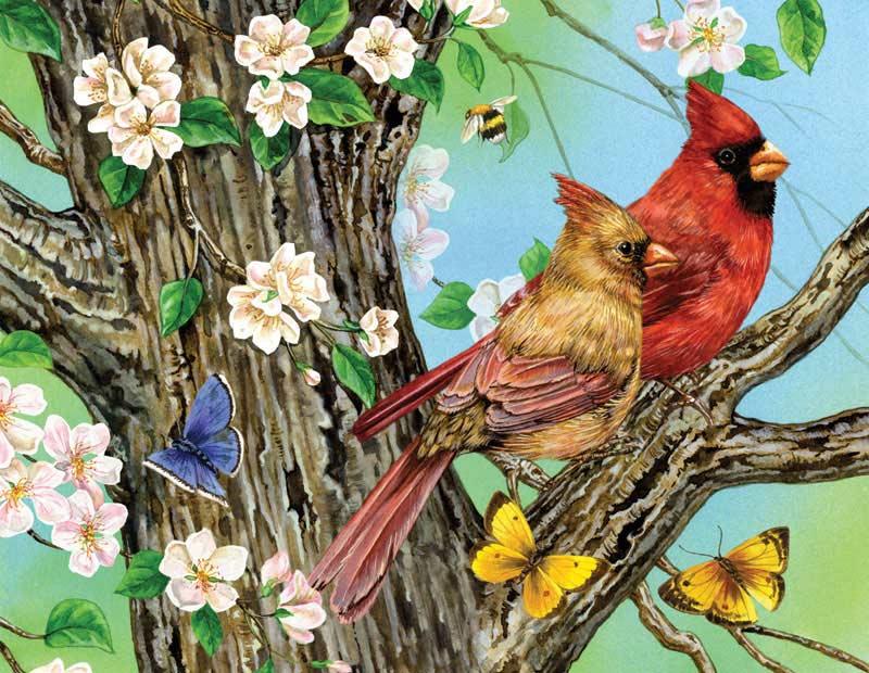 A Cardinal Pair Birds Jigsaw Puzzle