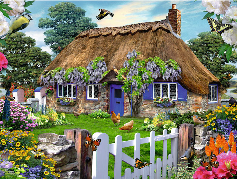 Cottage in England - Scratch and Dent Birds Jigsaw Puzzle
