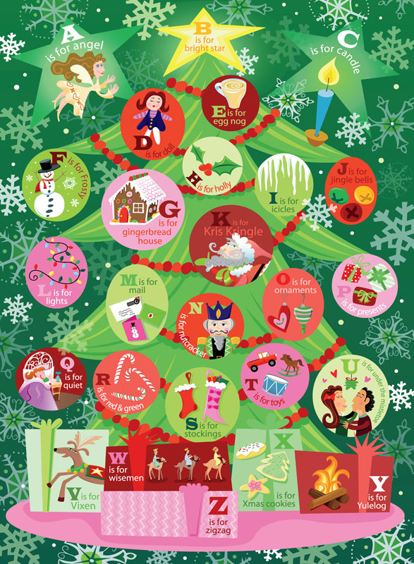 Holiday Magic - Alphabet Christmas Tree Christmas Jigsaw Puzzle