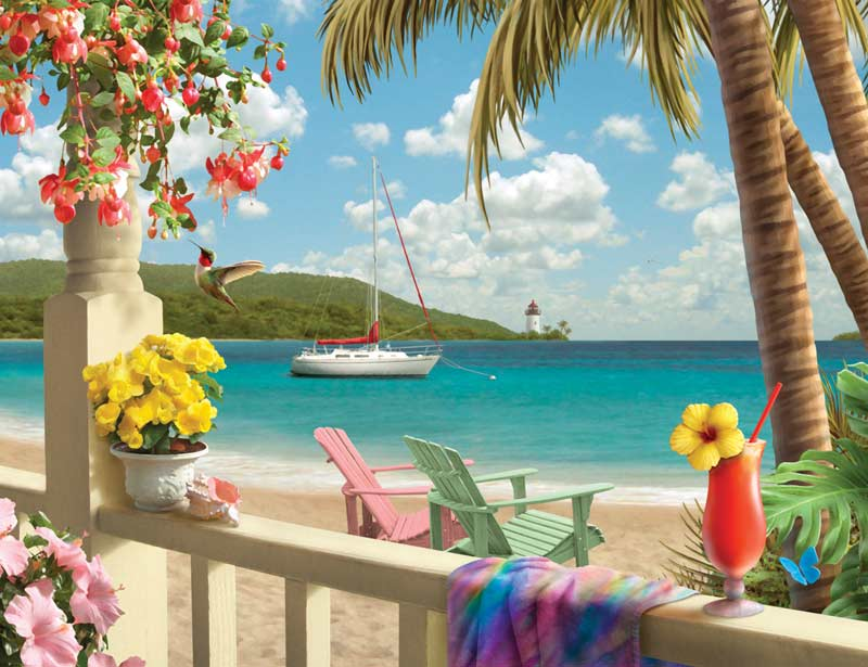 Tropical Paradise Beach Jigsaw Puzzle