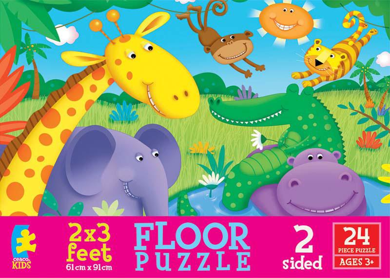 Floor Puzzle - Cute Creatures Jungle Animals Floor Puzzle