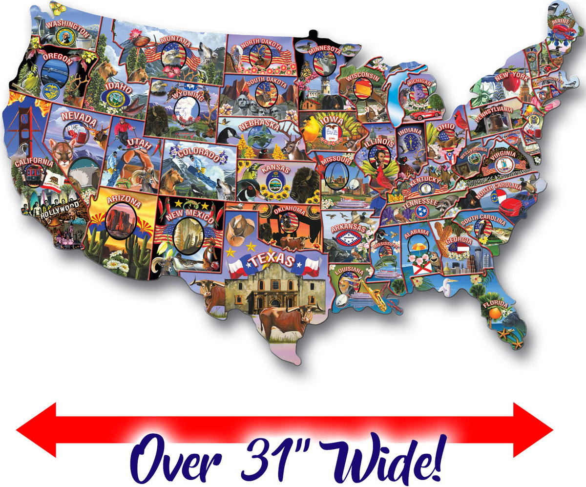 American Vintage Postcard Jigsaw Puzzle, 1000 pieces Maps / Geography Shaped Puzzle