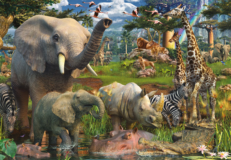 At the Waterhole - Scratch and Dent Jungle Animals Jigsaw Puzzle