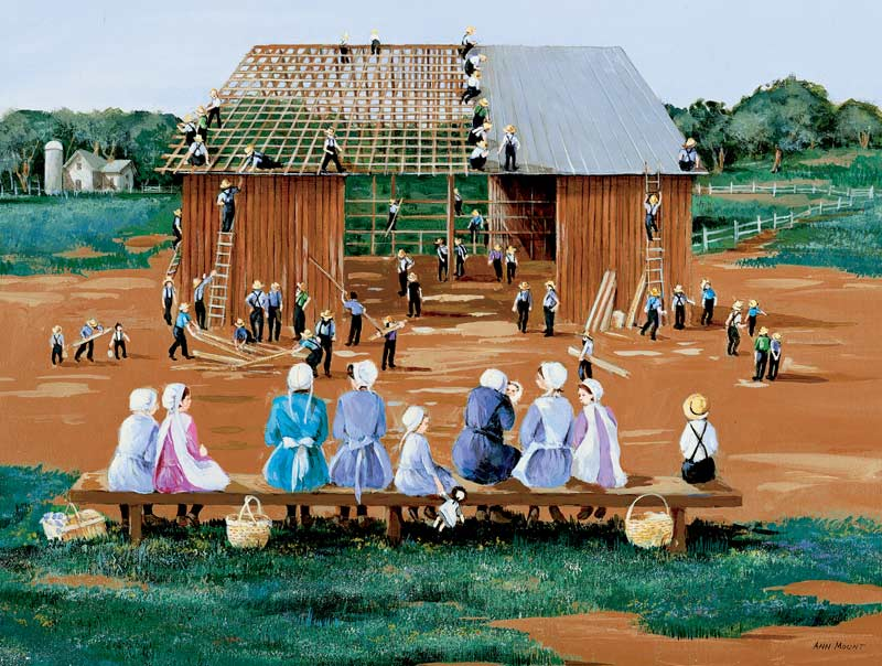 Barn Raising Farm Jigsaw Puzzle