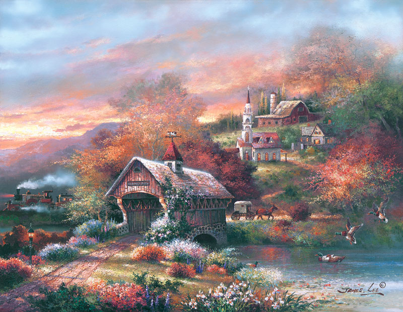 Old Mill Creek Countryside Jigsaw Puzzle