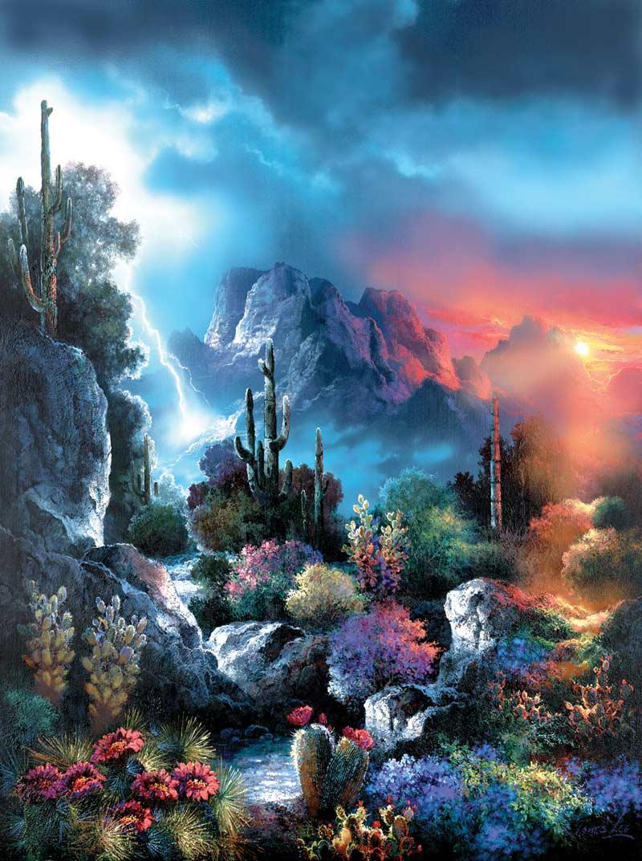 Desert Storm Vista Flowers Jigsaw Puzzle