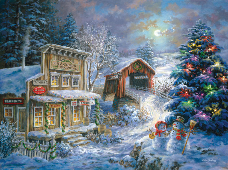Country Shopping Christmas Jigsaw Puzzle