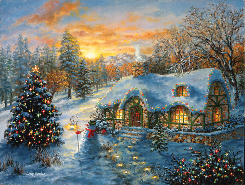 Christmas Cottage - Scratch and Dent Winter Jigsaw Puzzle