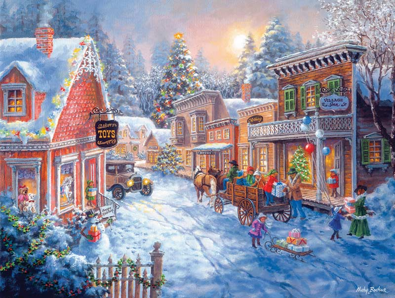Toy Shop on Main Street Street Scene Jigsaw Puzzle