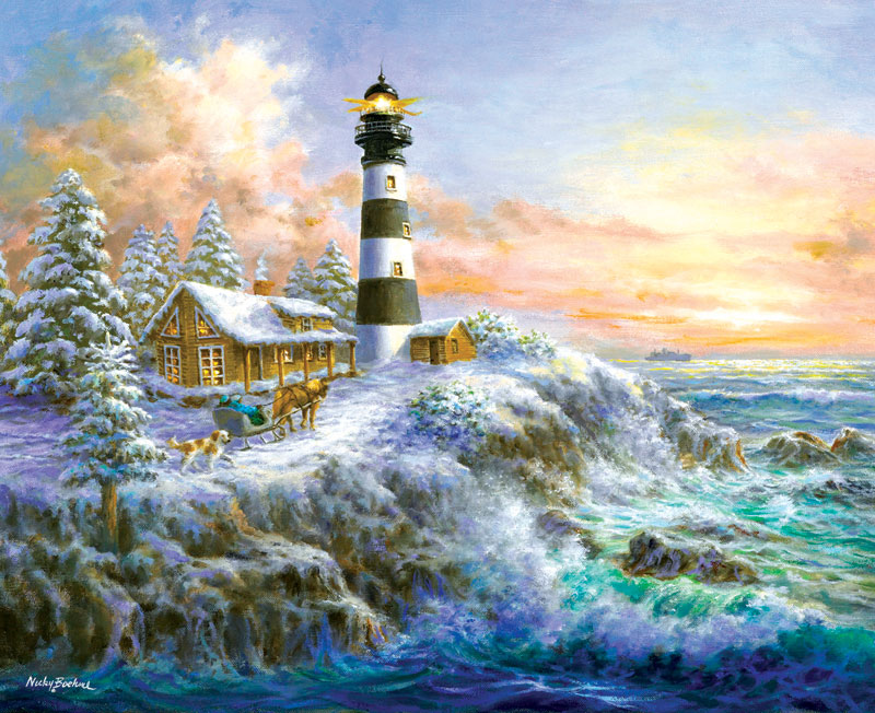 Winter Majesty Lighthouses Jigsaw Puzzle