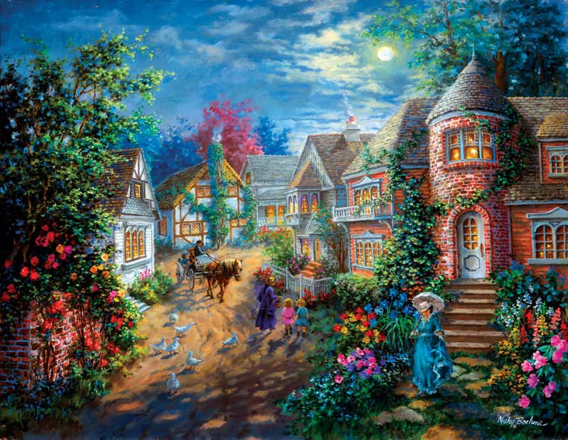 Moonlight Splendor Countryside Jigsaw Puzzle