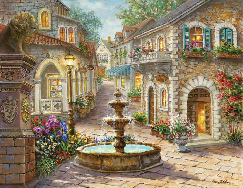 Cobblestone Fountain Paris Jigsaw Puzzle