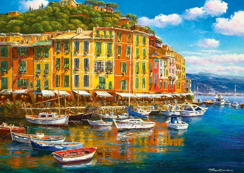 Sunny Harbor Boats Jigsaw Puzzle