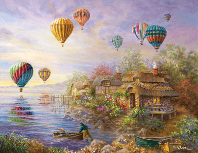 Balloons over Cottageville Balloons Jigsaw Puzzle