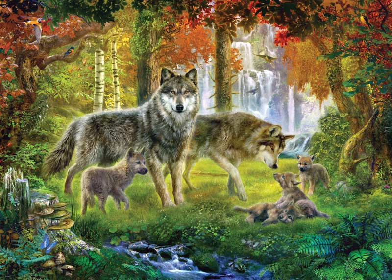 Summer Wolves Forest Jigsaw Puzzle