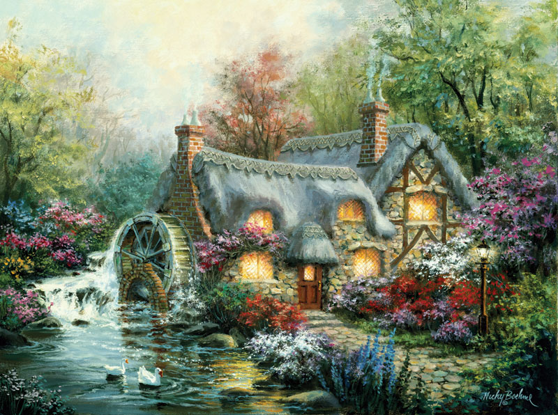 Cottage Mill Countryside Jigsaw Puzzle