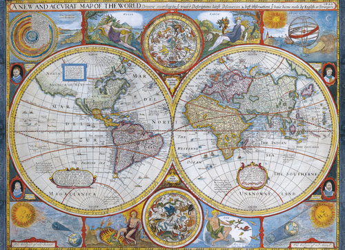 New and Accurate Antique World Map Maps / Geography Jigsaw Puzzle