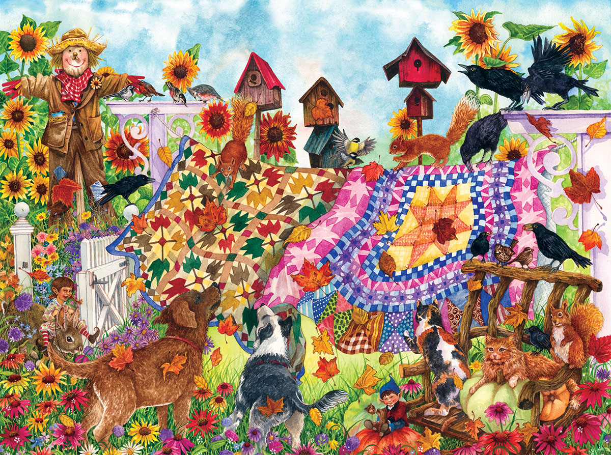 Autumn Garden Quilts Animals Jigsaw Puzzle