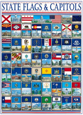 State Flags & Capitols Patriotic Jigsaw Puzzle