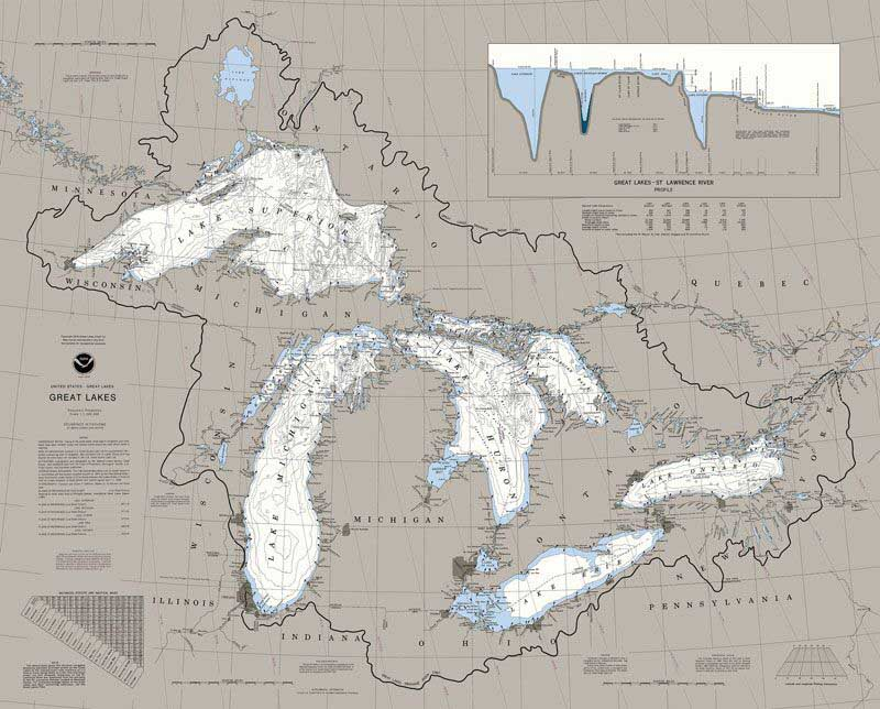 Great Lakes Nautical Chart Maps / Geography Jigsaw Puzzle