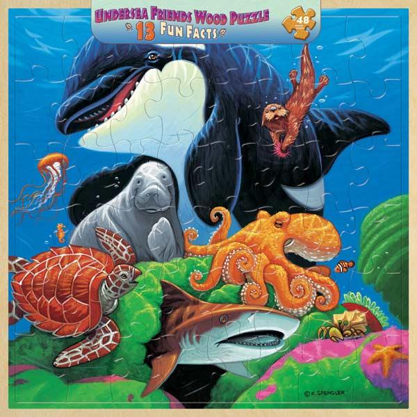 Wood Fun Facts - Undersea Friends Marine Life Jigsaw Puzzle