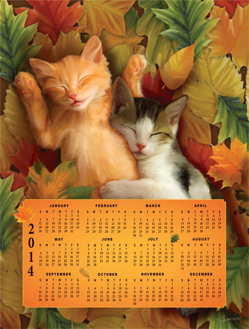 Time's Pieces - Fall Kittens Calendars Jigsaw Puzzle