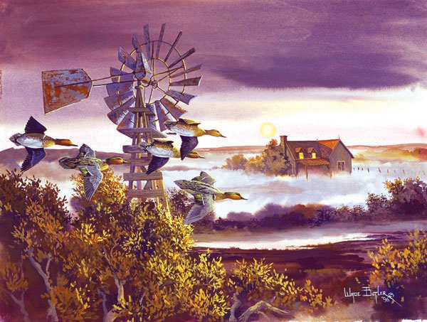 Windmill Teal Countryside Jigsaw Puzzle