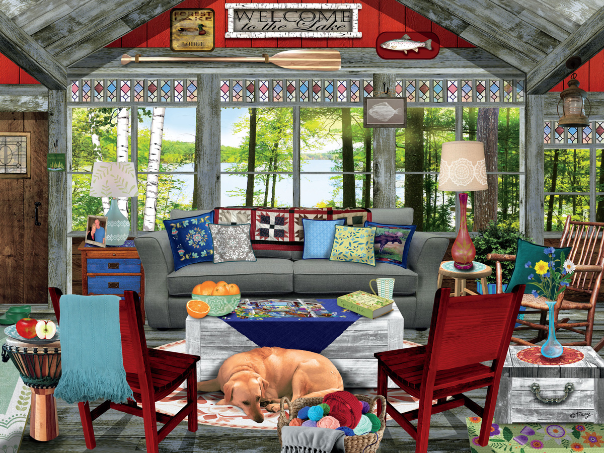 Lake Cabin Dogs Jigsaw Puzzle