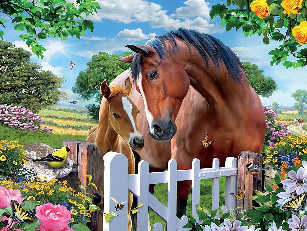 At the Gardens Gate 2 Horses Jigsaw Puzzle