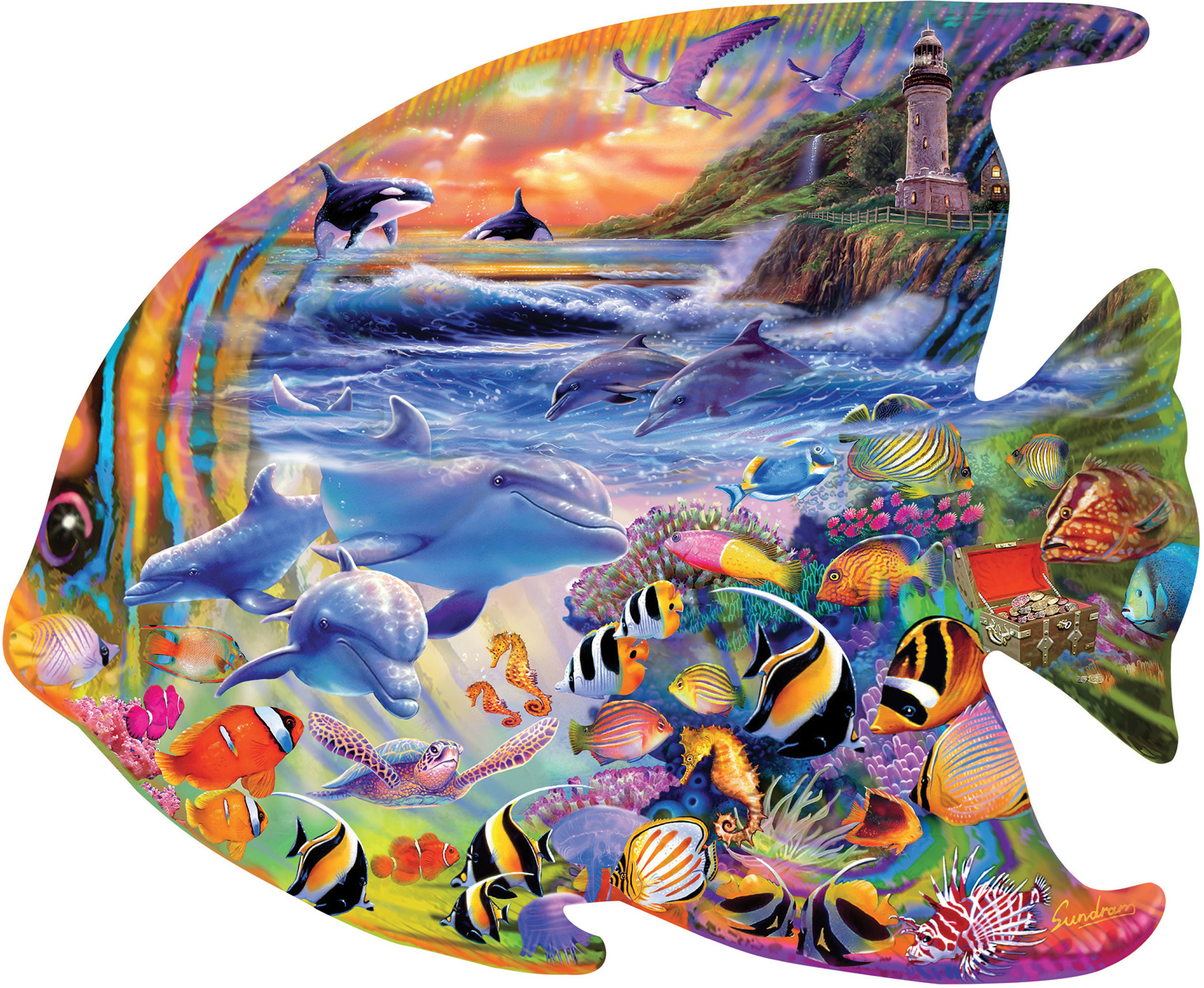 Fish Under The Sea Shaped Puzzle