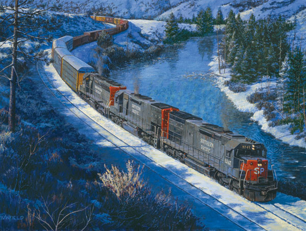 Winter on the Truckee River Trains Jigsaw Puzzle
